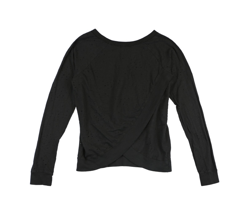 BLACK LONG SLEEVE CREW WITH CROSS BACK - BACK VIEW