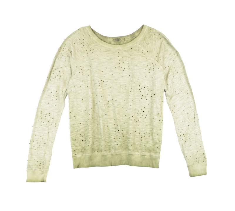 MD OLIVE VINTAGE WASHED LONG SLEEVE CREW WITH CROSS BACK