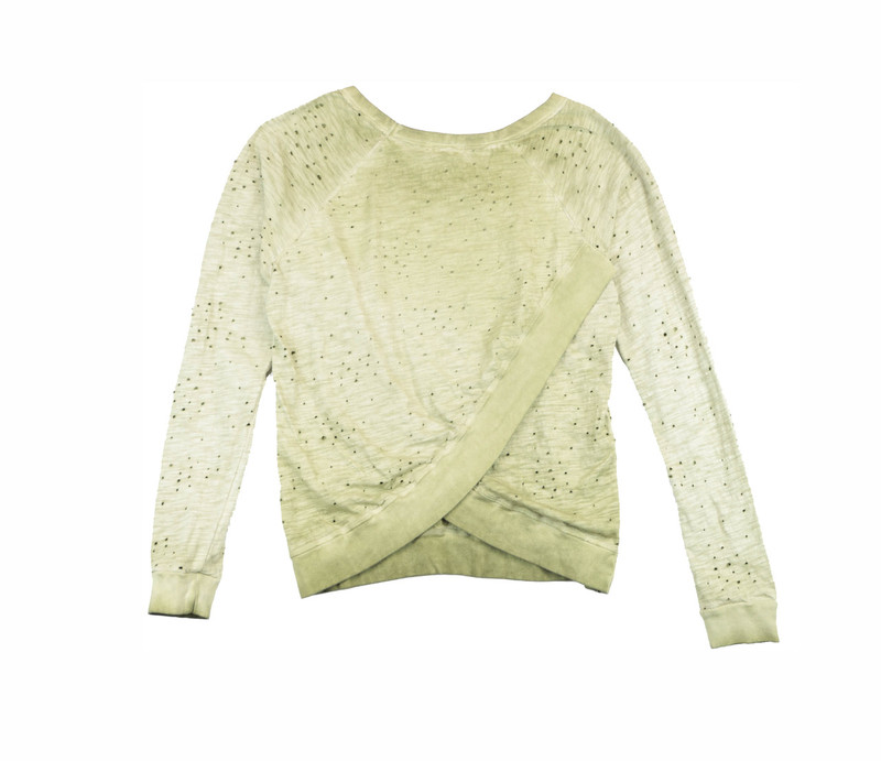 MD OLIVE VINTAGE WASHED LONG SLEEVE CREW WITH CROSS BACK - BACK VIEW