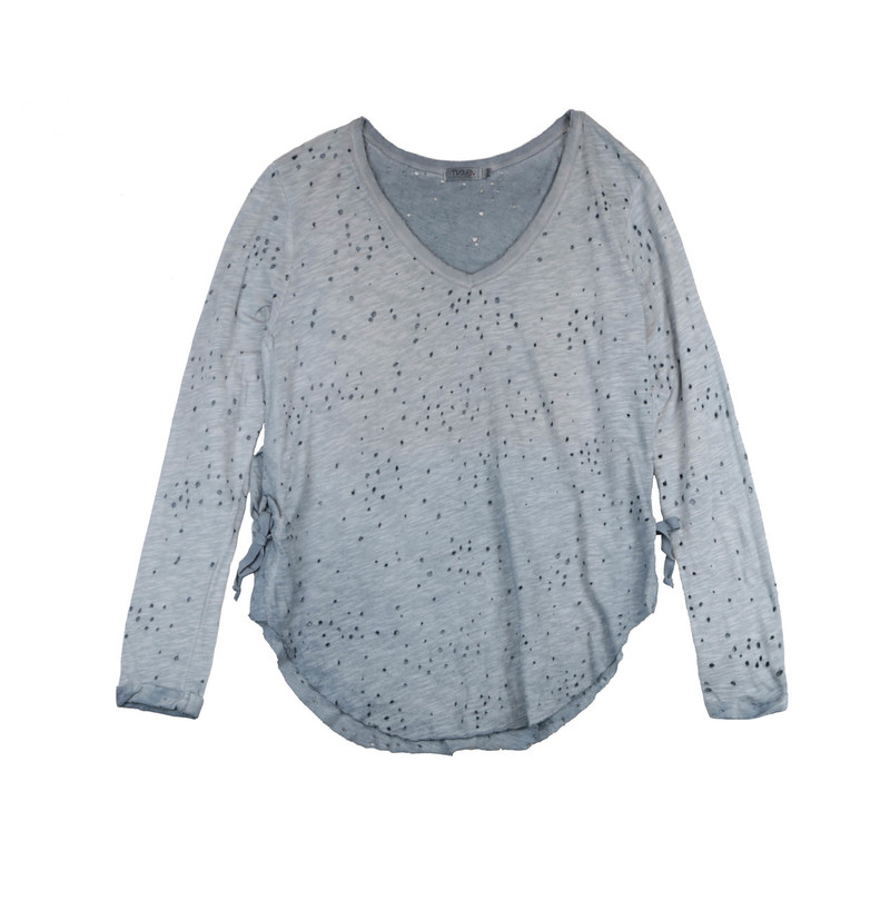 DENIM LONG SLEEVE JERSEY COTTON RAW V-NECK TOP WITH SIDE TIE