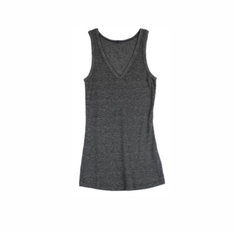 BLACK HEATHER 2X1 RIB V NECK TANK
