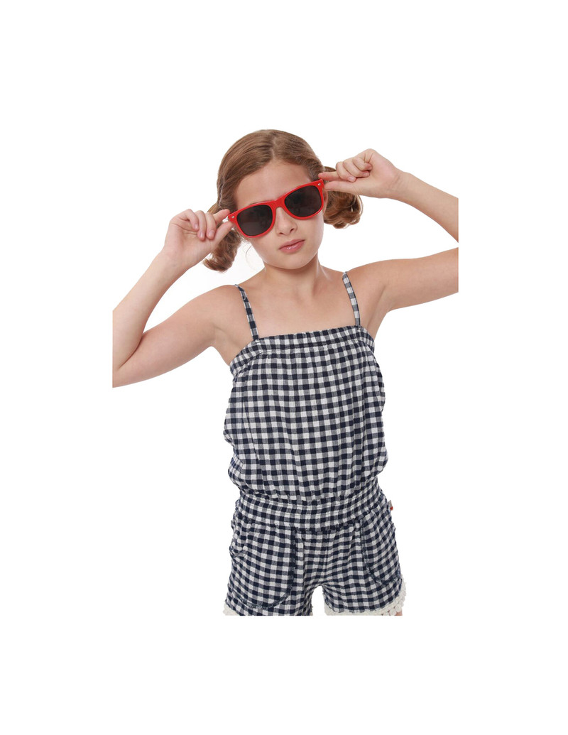 NAVY GINGHAM SEERSUCKER LYCRA TUBE ROMPER WITH POMPOM TRIMS
