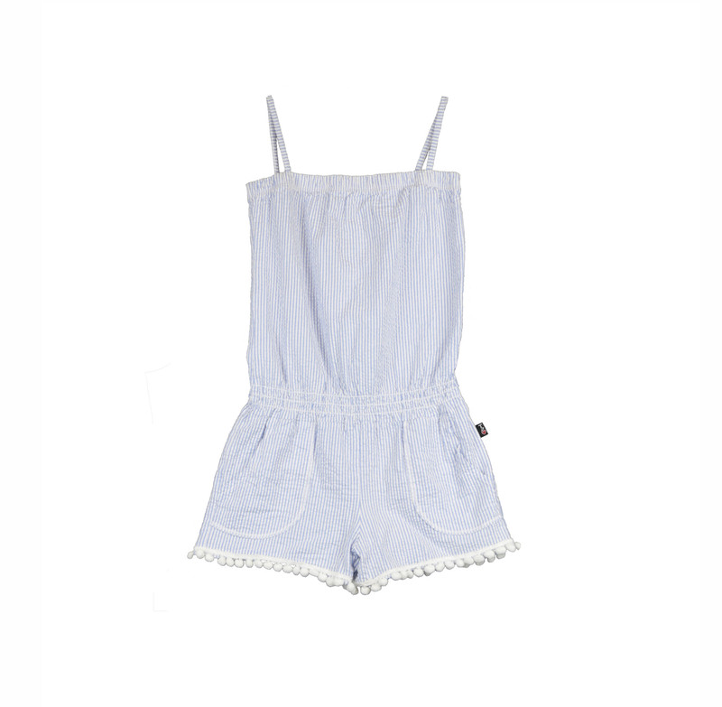 SKY MINI STRIPE SEERSUCKER LYCRA TUBE ROMPER WITH POMPOM TRIMS