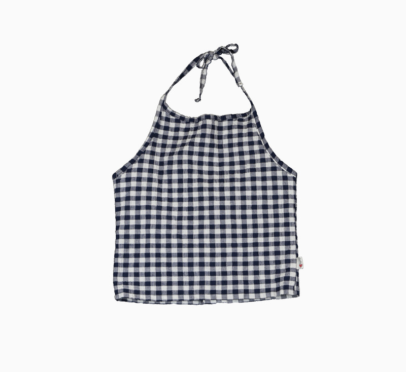 NAVY GINGHAM SEERSUCKER LYCRA CROP HALTER TOP WITH BACK SNAP