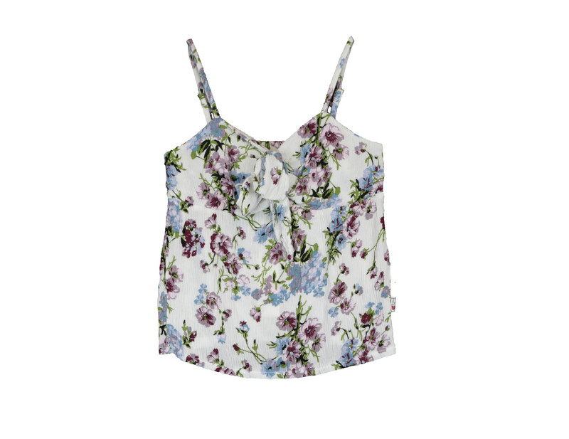 TROPICAL PINK FLOWER PRINT CAMI WITH KNOT TIE