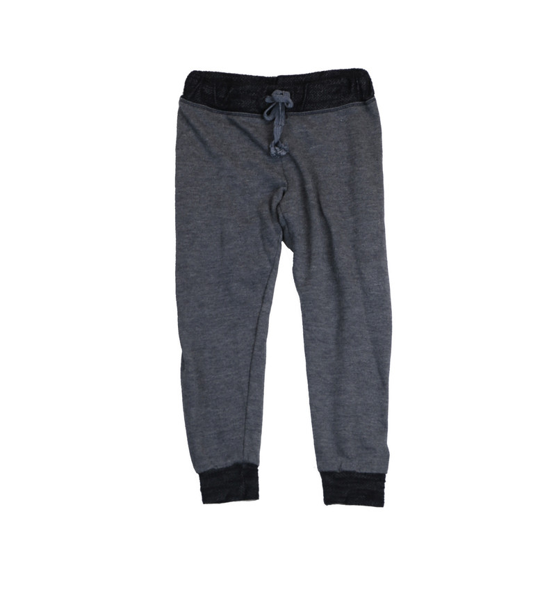 BLACK CUFFED HEATHER FRENCH TERRY RAYON SWEAT PANTS WITH BACK POCKET