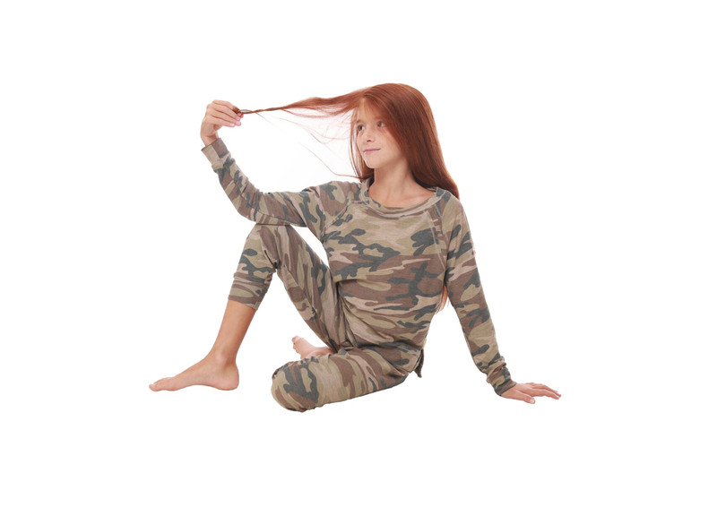 CAMO PRINT CUFFED FRENCH TERRY RAYON SLUB SWEAT PANTS WITH BACK POCKET