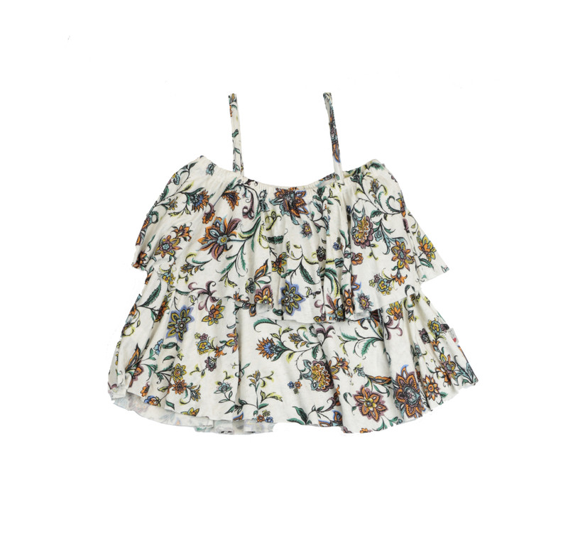 NATURAL BOHO FLOWERS FLOUNCE CAMI