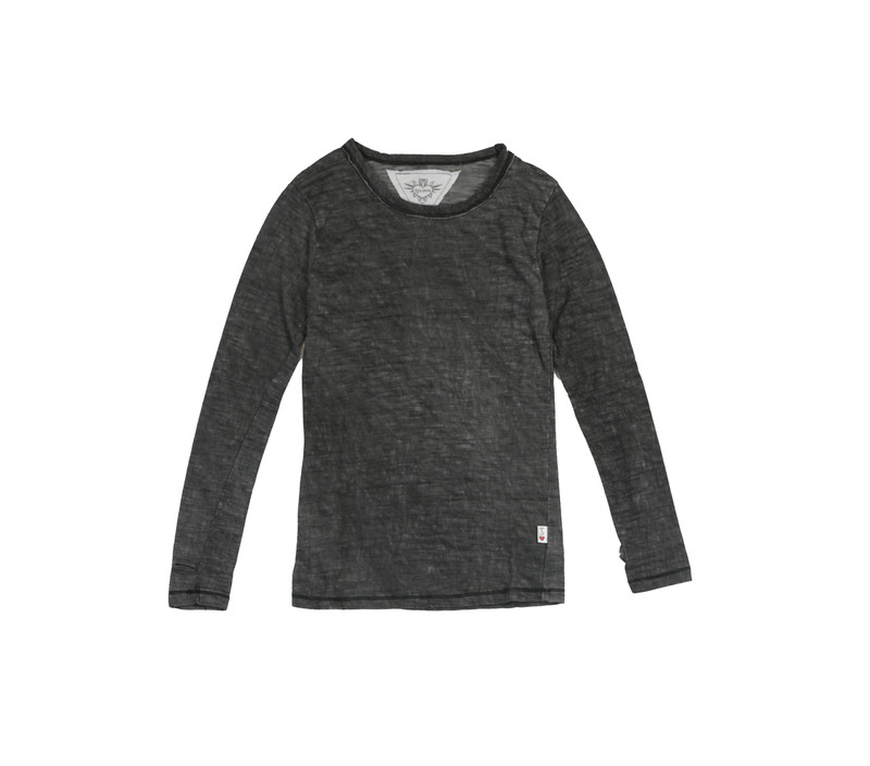 CHARCOAL LONG SLEEVE CREWNECK WITH THUMBHOLES