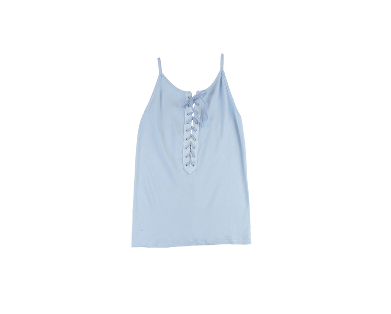 BABY BLUE WOMEN'S LACE FRONT RIB CAMI