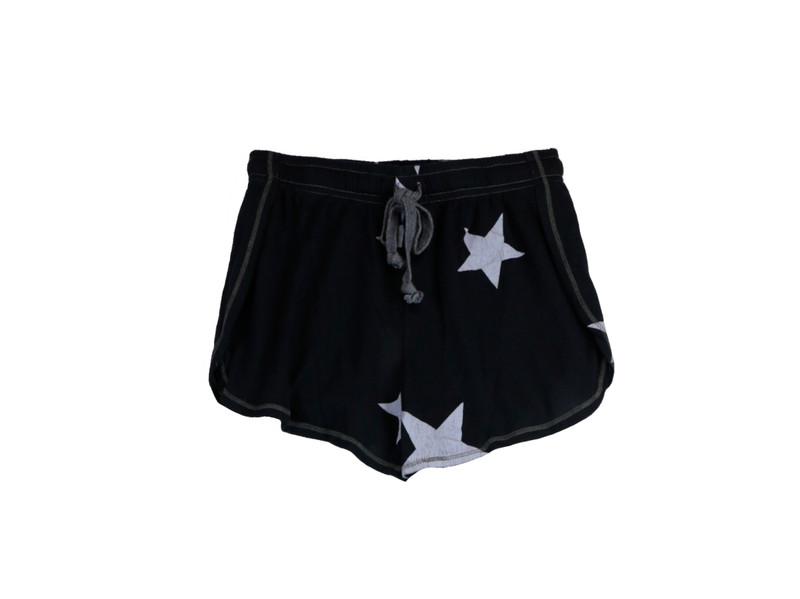 NAVY JERSEY TRI BLEND BEACH SHORTS WITH WHITE STARS PRINT