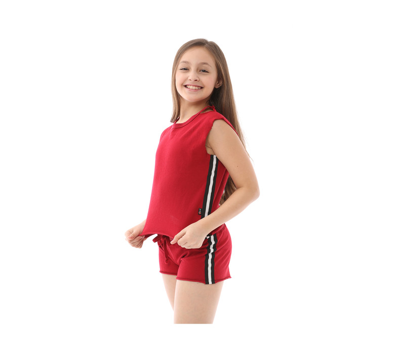 RED ROSE SLEEVELESS CUT NECK TOP WITH SIDE STRIPES