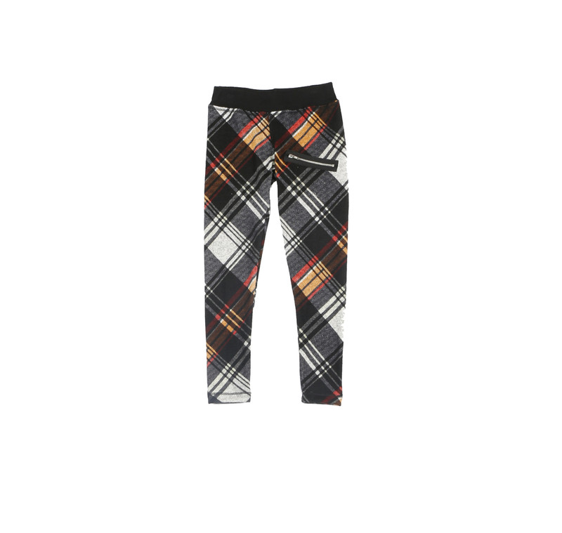 BLACK PLAID PRINT LEGGINGS WITH ZIPPER DETAIL