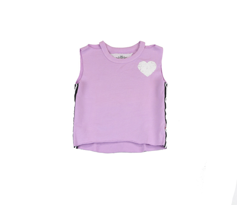 PASTEL LAVENDER SCREEN PRINT SLEEVELESS CUT NECK TOP WITH SIDE STRIPES