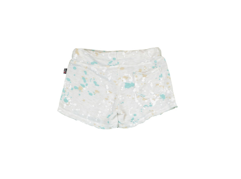 CREAM FRENCH TERRY RAW SHORTS WITH BACK POCKET BACK VIEW