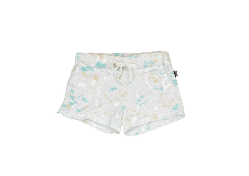 CREAM FRENCH TERRY RAW SHORTS WITH BACK POCKET FRONT VIEW