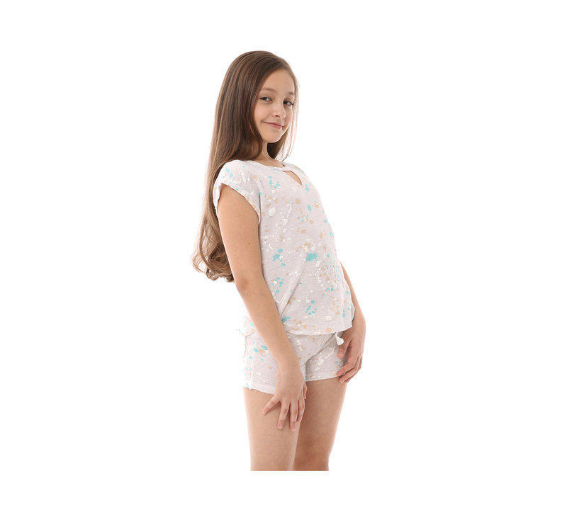 GIRLS FRENCH TERRY PAINT SPLASH PRINT RAW SHORTS WITH BACK POCKET