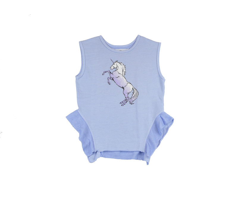 CHAMBRAY UNICORN SCREEN PRINT SLEEVELESS TOP WITH SIDE RUFFLES
