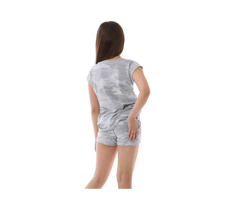 CHAMBRAY CAMO SLEEVELESS MUSCLE TOP CUT V BACK VIEW