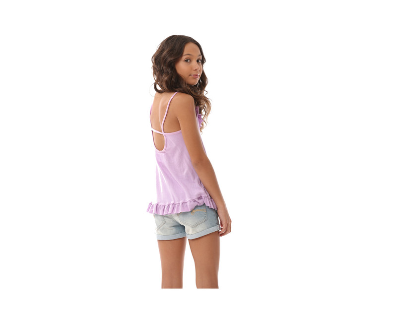 PASTEL LAVENDER RUFFLE CAMI BACK VIEW