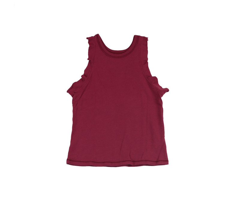 RED ROSE JERSEY BAMBOO RUFFLE HIGH NECK BABY TOP