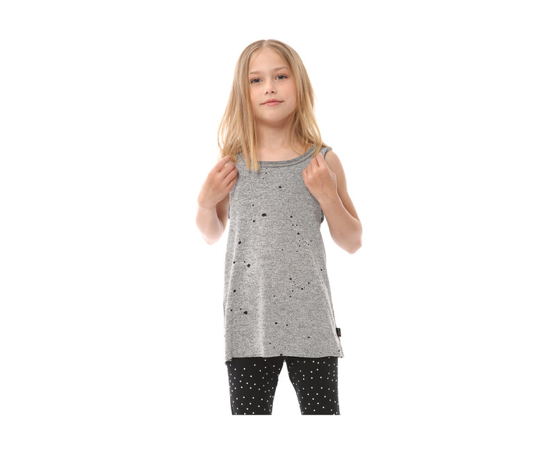 GREY HEATHER DOUBLE LAYER TANK FRONT VIEW
