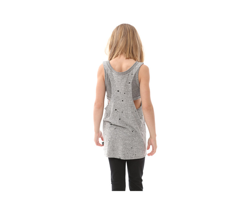GREY HEATHER DOUBLE LAYER TANK BACK VIEW
