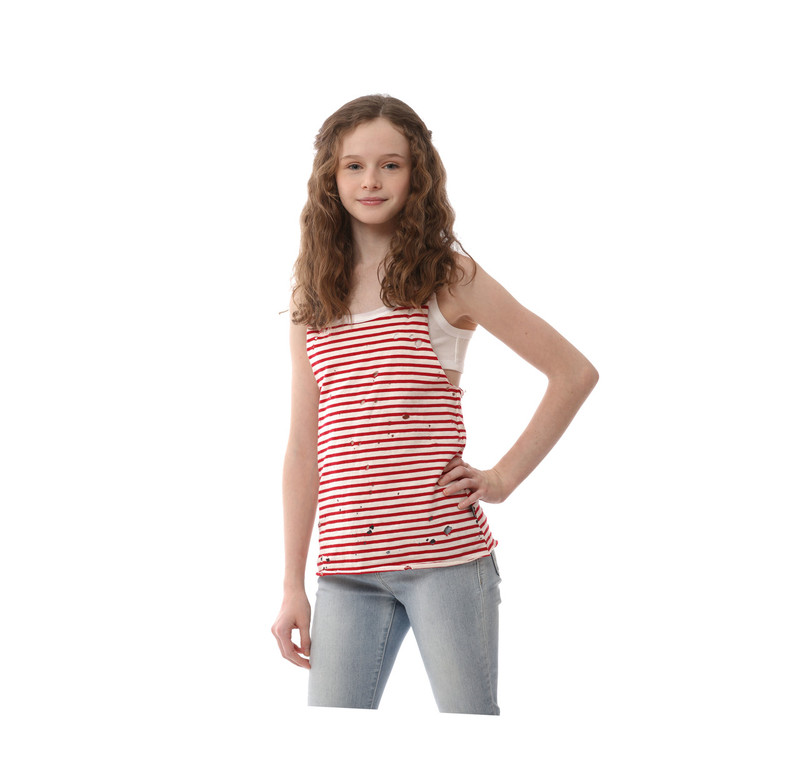 RED STRIPES DOUBLE LAYER TANK TOP