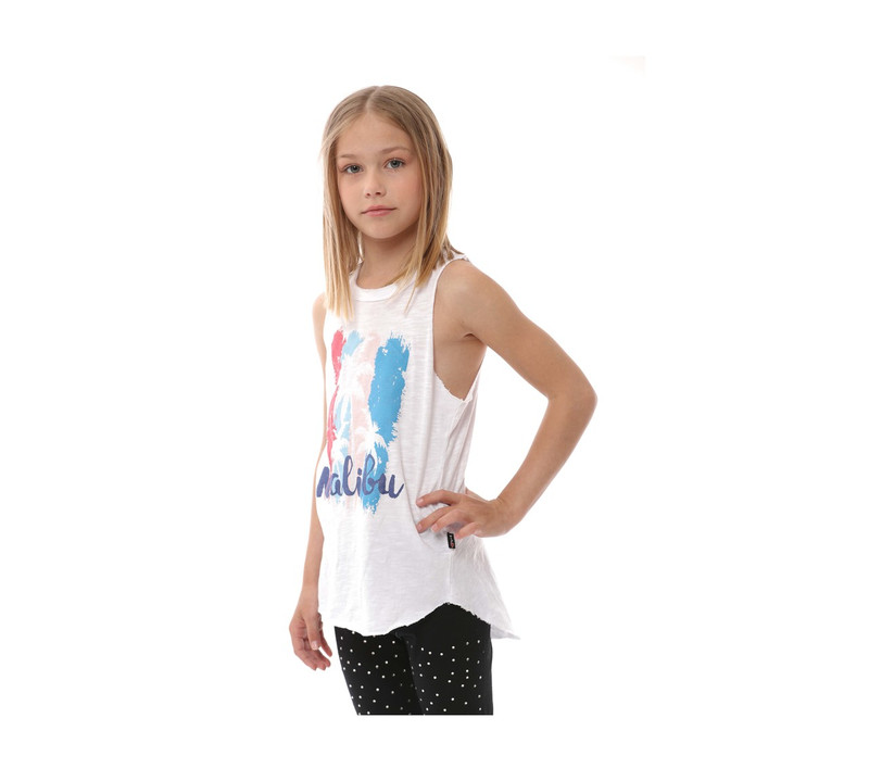 GIRLS JERSEY COTTON RAW EDGE MUSCLE TOP: MALIBU SCREEN PRINT