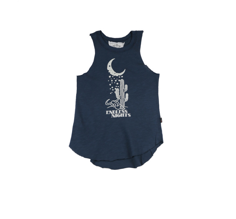 GIRLS JERSEY COTTON RAW EDGE MUSCLE TOP: WHITE STARY NIGHT SCREEN PRINT