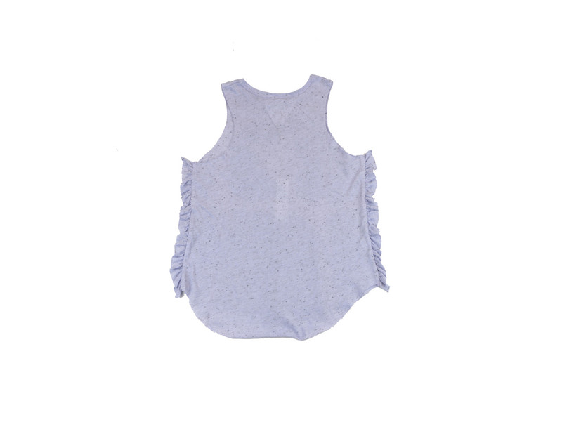 P LILAC JERSEY TRI-BLEND RUFFLE SIDE MUSCLE TOP BACK VIEW