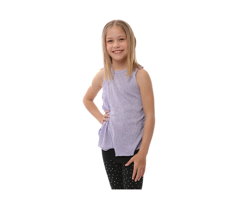 P LILAC JERSEY TRI-BLEND RUFFLE SIDE MUSCLE TOP