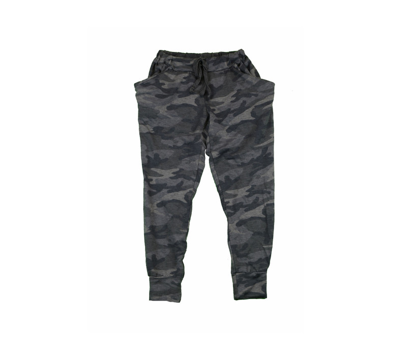 GIRLS FRENCH TERRY CAMO PRINT SLOUCHING PANTS