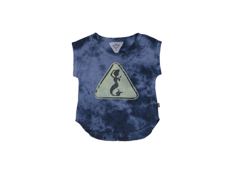NAVY TIE DYE CLOUD SCREEN PRINT LOOSE FIT MUSCLE TOP