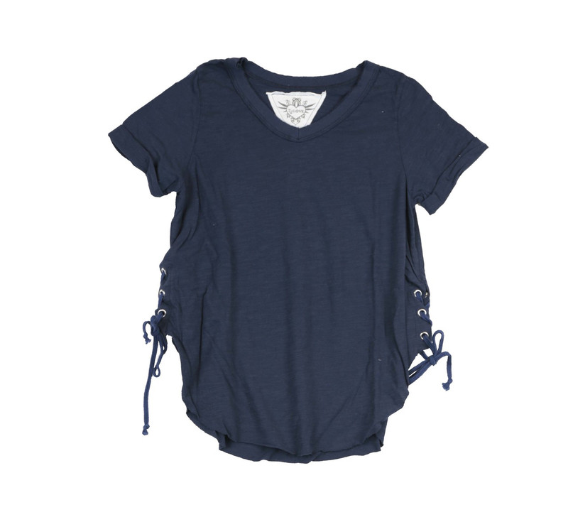 NAVY SHORT SLEEVE V NECK TOP WITH SIDE TIES