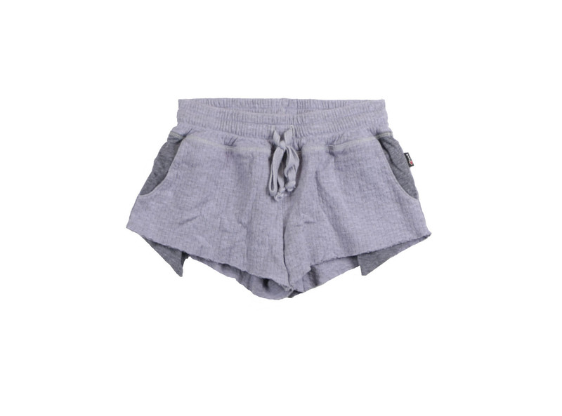 P LILAC DOUBLE KNIT MESH CONTRAST POCKET RAW EDGE SHORTS