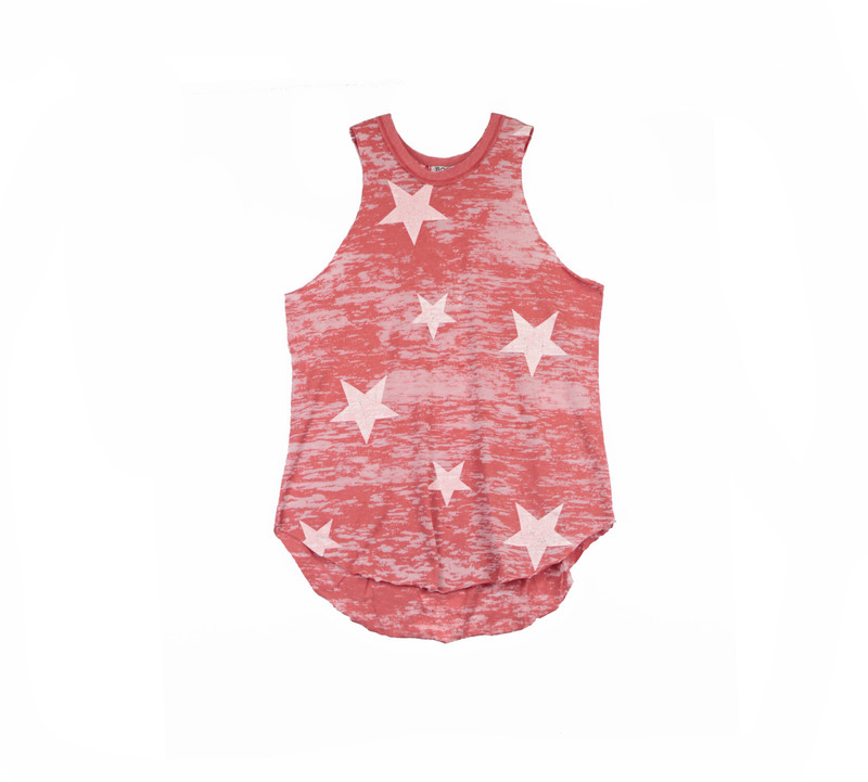 CHILI RAW EDGE MUSCLE TOP WITH WHITE STARS PRINT