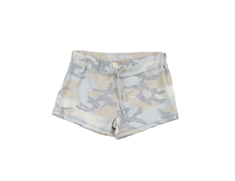 NBS REVERSED CAMO PRINT FRENCH TERRY RAW SHORTS WITH BACK POCKET