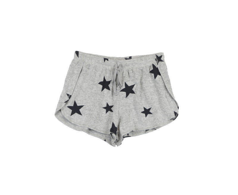 LT GREY HEATHER NAVY STARS PRINT SHORT WITH BACK POCKET
