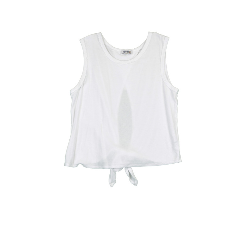 WHITE RIB COTTON LYCRA TIE BACK SLEEVELESS TOP - FRONT VIEW