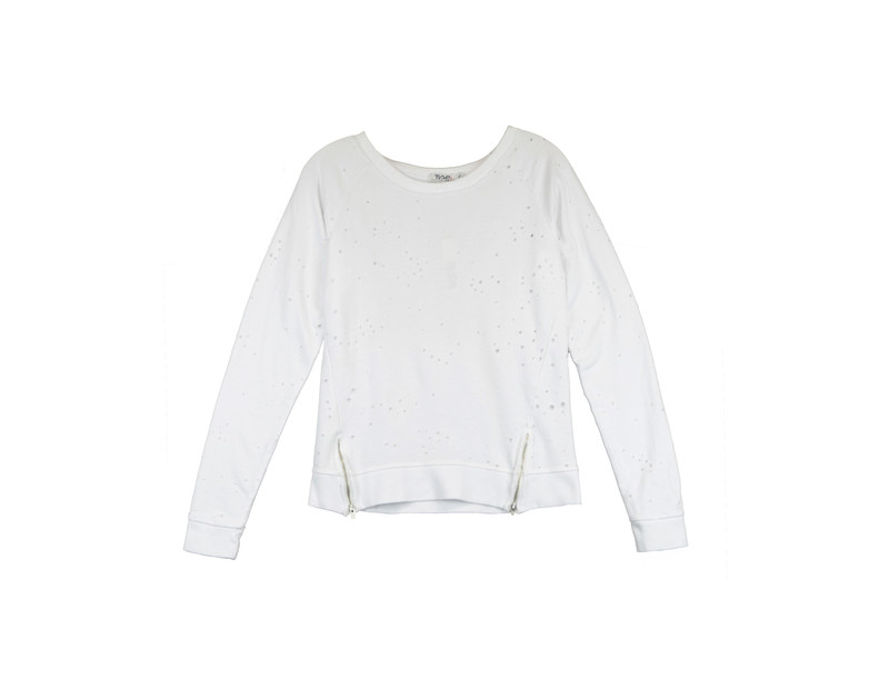 WHITE LONG SLEEVE HOLEY CREW WITH ZIPPER DETAIL
