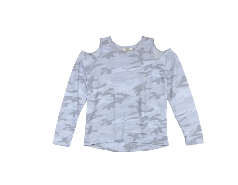BABY BLUE CAMO PRINT LONG SLEEVE CREW WITH CUT SHOULDER
