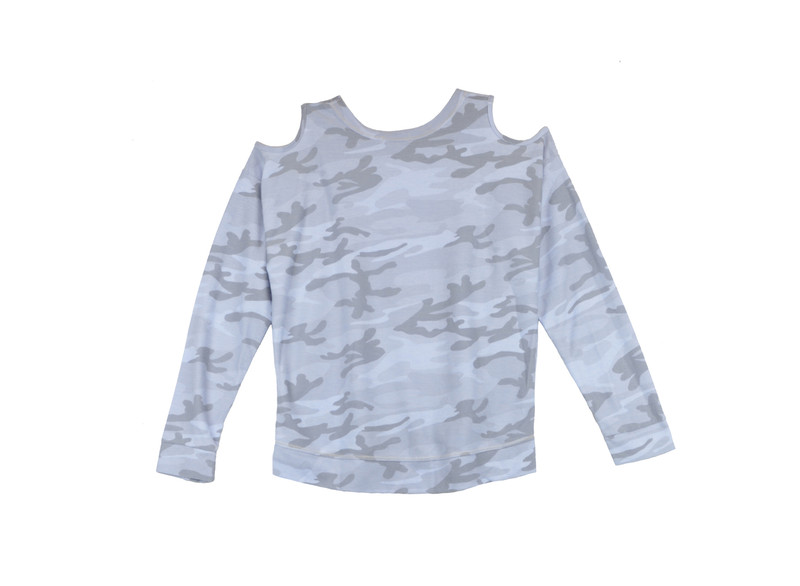BABY BLUE CAMO PRINT LONG SLEEVE CREW WITH CUT SHOULDER - BACK VIEW