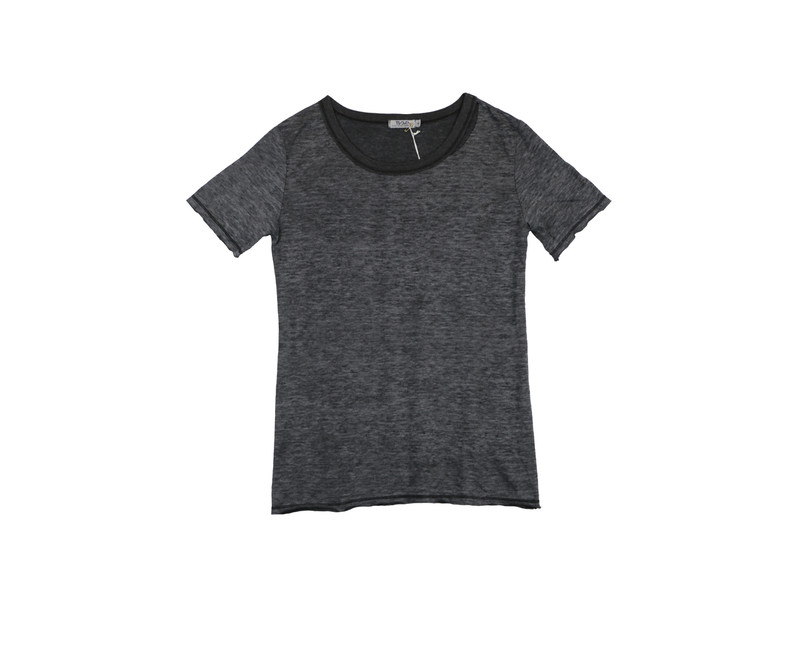 BLACK SHORT SLEEVE RAW TEE WITH CUT NECK