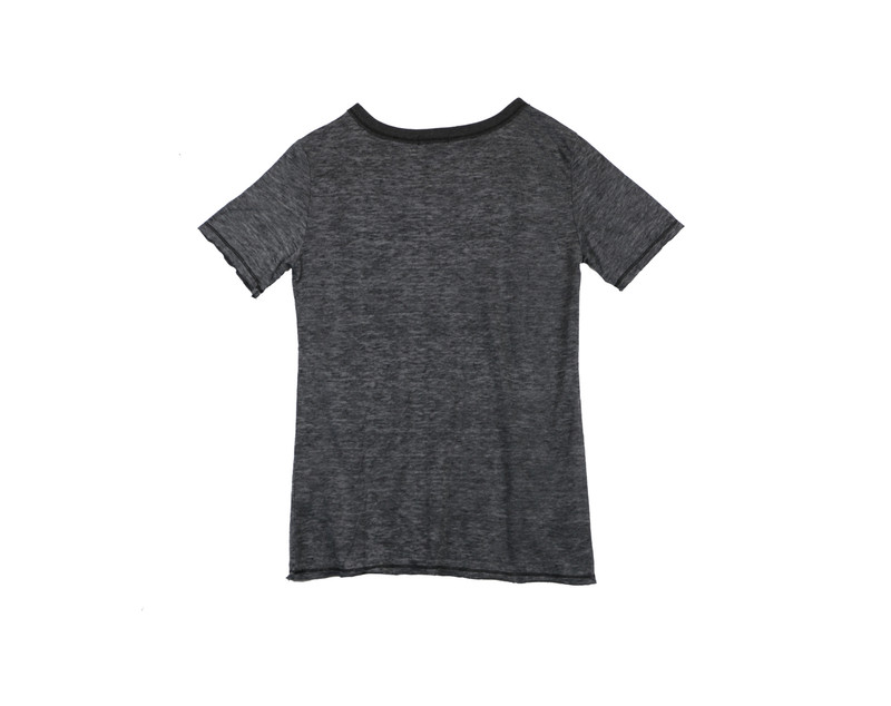 BLACK SHORT SLEEVE RAW TEE WITH CUT NECK - BACK VIEW