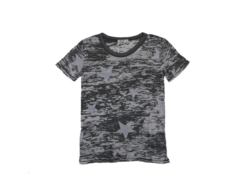 CHARCOAL WHITE STARS PRINT SHORT SLEEVE RAW TEE WITH CUT NECK