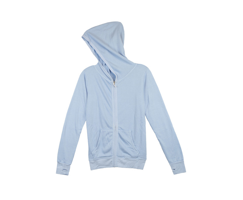 BABY BLUE LONG SLEEVE HOODED ZIPPER JACKET WITH THUMBHOLES