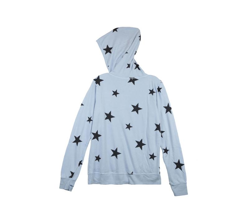 BABY BLUE NAVY STARS PRINT LONG SLEEVE HOODED ZIPPER JACKET WITH THUMBHOLES - BACKVIEW