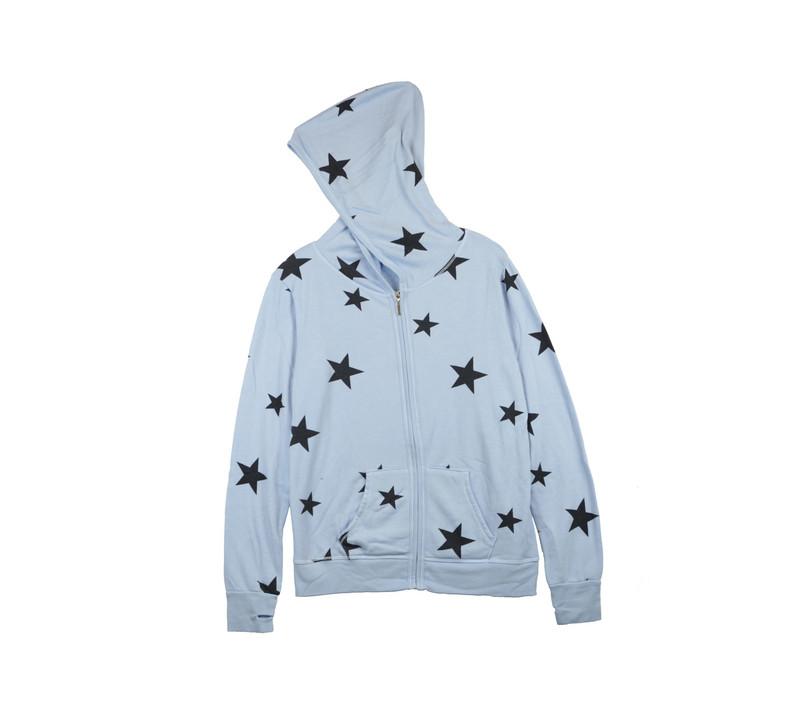 BABY BLUE NAVY STARS PRINT LONG SLEEVE HOODED ZIPPER JACKET WITH THUMBHOLES