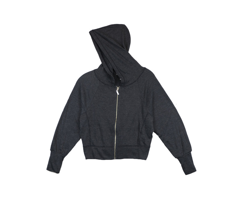 NAVY LONG SLEEVED HOODED ZIPPER JACKET WITH SIDE YOKE.